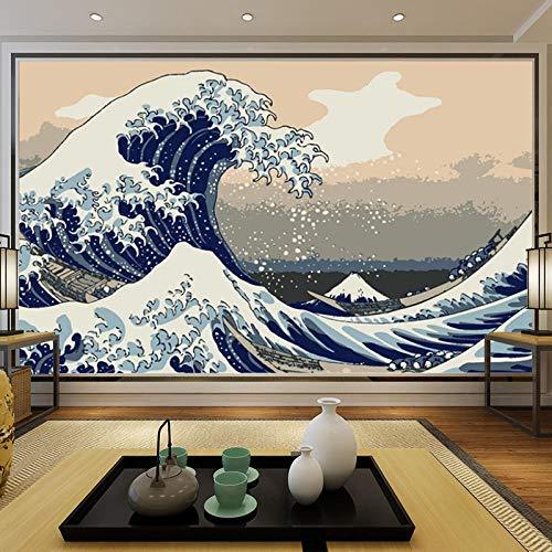 Hotel murals_tooling sfondo muro hotel pranzo murale sfondo muro ukiyo-e onde giganti ristorante giapponese di sushi ad alta definizione Carta Da Parati moderna 3D Fotomurali spiaggia-200cm×140cm