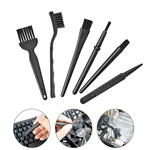 Small Portable Plastic Handle Nylon Anti Static Brushes Computer Keyboard Cleaning Brush Kit by ICEBLUEOR (Black, Set of 6)