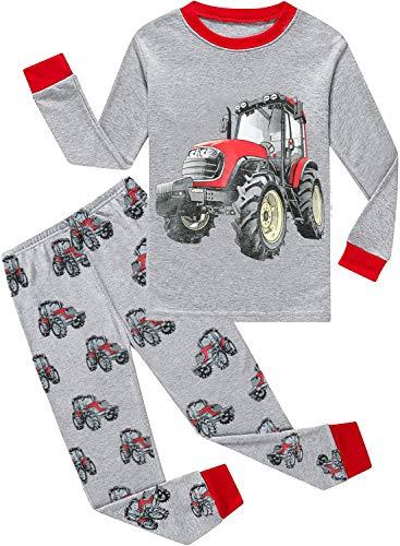 EULLA Schlafanzug Jungen Kinder Langarm Baumwolle Dinosaurier Traktor Bagger Feuerwehrauto WeltraumZweiteiliger Pyjama Set Nachtwäsche 1-7 Jahre 92 98 104 110 116 122 C-Grau Traktor DE 104