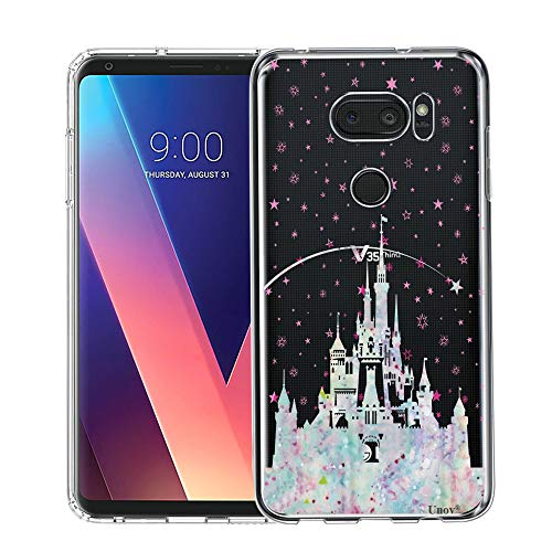 Unov Case Compatible with LG V35 ThinQ Case Clear with Design Soft TPU Shock Absorption Slim Embossed Pattern Protective Back Case for LG V30S ThinQ V30 Plus V30 (Watercolor Castle)