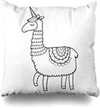 Ahawoso Throw Pillow Cover Pillowcase Square 16x16 Funny Outline Cute Unicorn Llama Horn Coloring Page Animals Isolated Doodle Print Hand Or Wildlife Decorative Zippered Cushion Case Home Decor