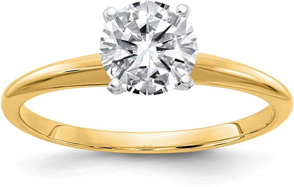 14k Yellow Gold 1 7/8ct. G H I True Round Moissanite Solitaire Band Ring Size 7.00 Engagement Gsh Gshx Fine Jewelry For Women Gifts For Her