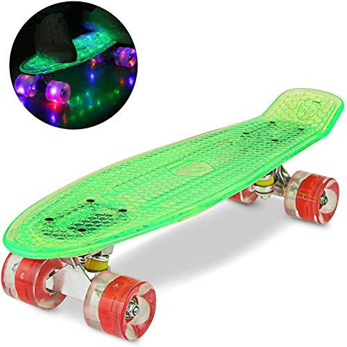 WeSkate Cruiser Skateboard Tavola Completa Mini Skateboard 22'55CM Penny Board con PU LED Ruote, Cuscinetto ABEC-7 Regalo per Adulti Adolescenti Bambini Ragazzi Ragazze