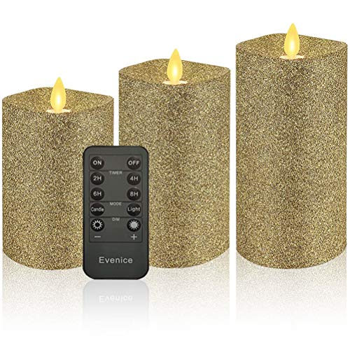 Glitter Gold Flickering Flameless Candles with Timer and Remote for Christmas Gift (Set of 3)