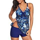 Zando Plus Size Swimwear Two Piece Women Swimsuit Bathing Suits for Teen Girls Womens Tankini Top with Swim Shorts Printed Blue Floral 2XL (fits like US 16-18)
