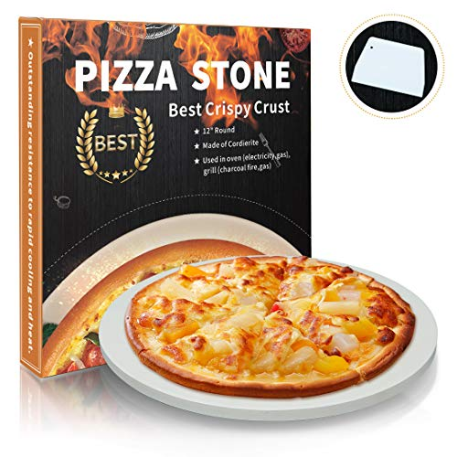 Homcosan Pizza Stone for Oven Grill, Baking Stone, Cooking Stone, Pizza Pan Perfect for BBQ Bread, Safe Cordierite and Thermal Shock Resistant(Elegance, 12