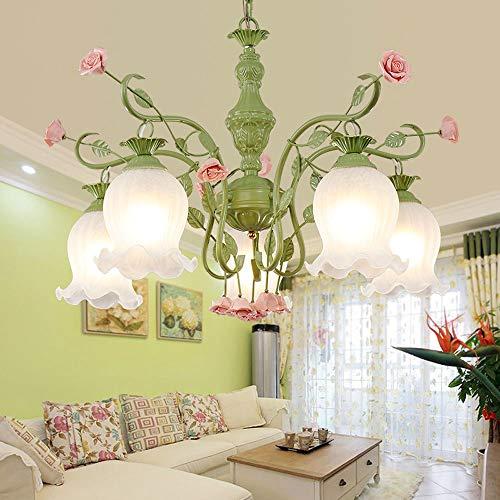 WRMING® Deckenleuchte Klassisch Florentiner Pink Rose Klassischer Kronleuchter,Green