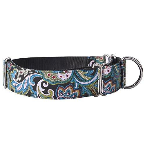 EXPAWLORER Martingalhalsbänder für Hunde, verstellbares Training, strapazierfähiges Nylonhalsband für Wandern, Laufen, mit Muster für mittelgroße bis große Hunde, 14-24
