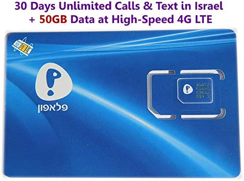 Israel SIM Card NEW with Prepaid Plan Max 82% OFF 30 Pelephone from Including D