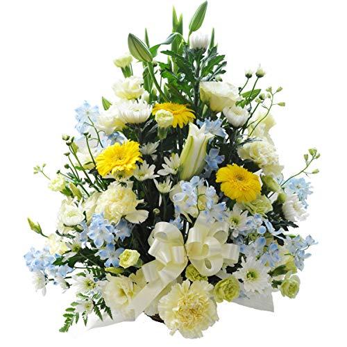 お供え お悔み 法要 四十九日 生花 フラワーアレンジメント ユリ リボン 入り L サイズ 高さ50cm (黄緑)