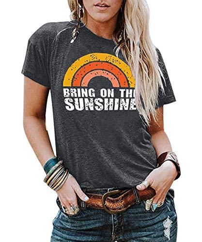 DUTUT Womens Bring On The Sunshine Letter Print T-Shirt Causal Short Sleeve...