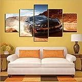 WLKJ Drucke auf Leinwand 5 Stück HD-Auto Bilder Ford