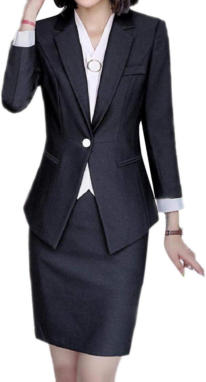 Doanpa Women's Elegant One Button OL Notch Lapel Blazer Jacket Skirt Suit