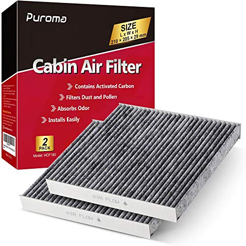 Puroma 2 Pack Cabin Air Filter with Activated Charcoal Layer Replacement for CP182, CF11182, Honda 80291-T5R-A01, 80291-TF0-405, 80291-TF0-E01, 80292-TBA-A11, 80292-TF0-G01, 80292-TGL-E0