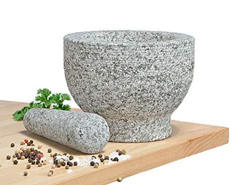 Spetebo Granit Mörser mit Stößel massiv - 15x11 cm - Steinmörser Zerkleinerer Gewürzmörser