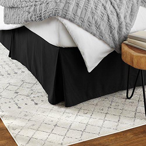 Amazon Basics Pleated Bed Skirt - Twin, Black