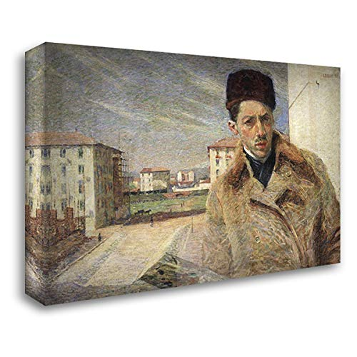 Boccioni, Umberto 24x17 Gallery Wrapped Stretched Canvas Art Titled: Self-Portrait