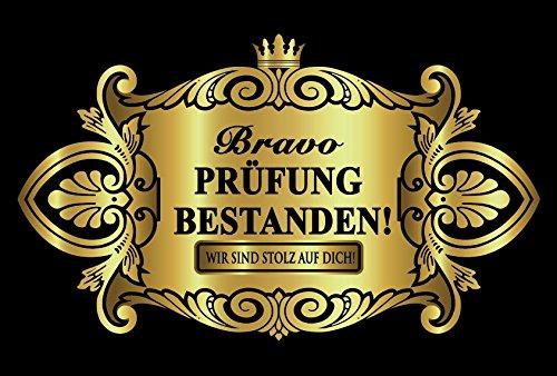 Oblique Unique® Prüfung Bestanden Aufkleber Flaschenetikett Etikett Gold elegant