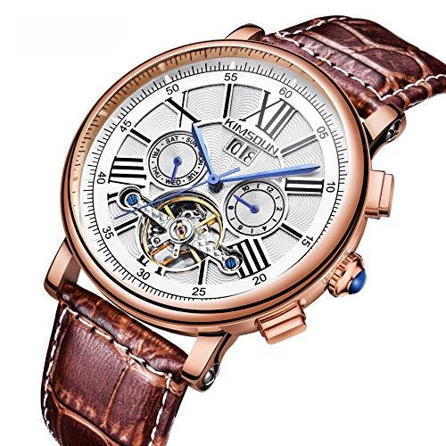 GUOJIAYI Armbanduhr Business Herren Automatik Hohl Tourbillon Mechanische Uhr