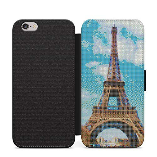 Pixellate Pixel Paris Eiffel Tower Love Capital Wallet Leather Flip Phone Case Cover For iPhone 7 Leather Case