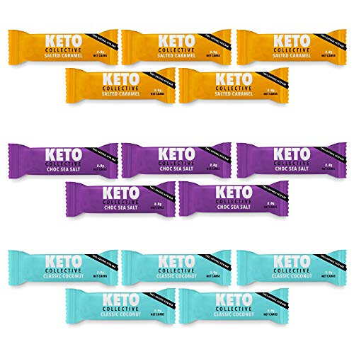 Keto Collective Wholefood Keto Bars I 15x40g I Mixed Selection l 2-4g Net Carbs I Low carb I High Fibre I Natural Ingredients I Perfect Fuel for a Keto Lifestyle I Gluten Free I Vegan