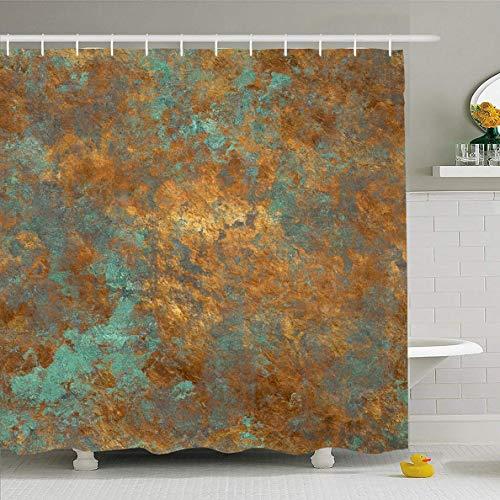 N/A Duschvorhang 72 x 72 Zoll Used Orange Kupfer Vintage Bronze Rost Patina Wand Muster Design Retro Wasserdicht Polyester Stoff Badezimmer Set mit Haken