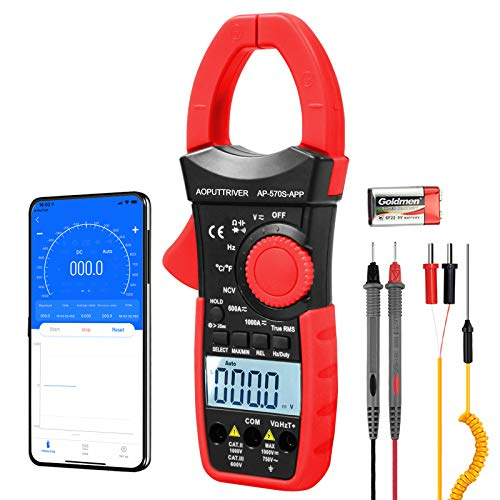 AOPUTTRIVER AP-570S-APP Bluetooth Clamp Meter 1000A AC DC Amp Meter 6000 Counts Auto-ranging Clamp Meter for Amp, Volt, Ohm, Resistance, Capacitance, Continuity, Temperature Clamp-on Meter