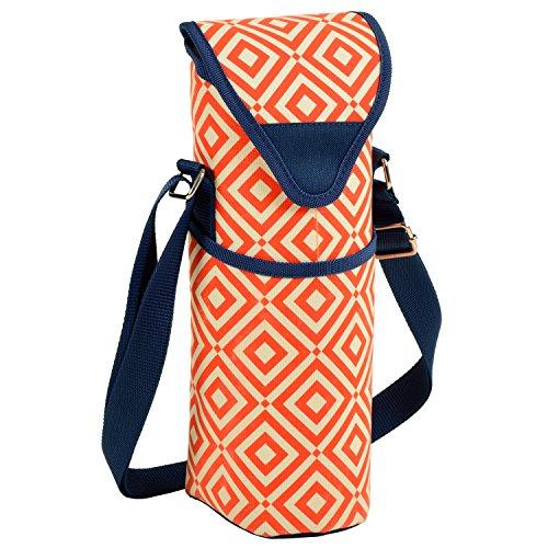 pique-nique à Ascot isotherme à vin/bouteille d'eau Sac avec sangle d'épaule–Nuit Bloom Orange/bleu marine