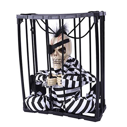 BESTOYARD Halloween Hängende Ghost Voice-Activated Gefangenen Scary Party Requisiten für Spukhaus Bar KTV Party Dekoration (mit Augenbinde)