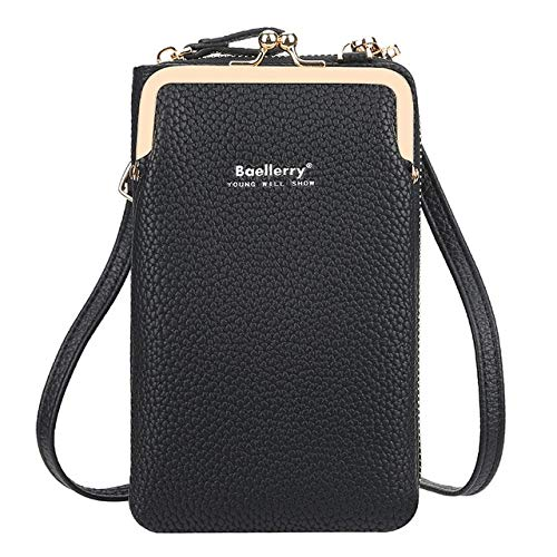 Xiaobing Cartera para Mujer Pure Color All Match Bolsa para teléfono móvil Bolsa de Mensajero con Cremallera de Gran Capacidad -Negro-D860