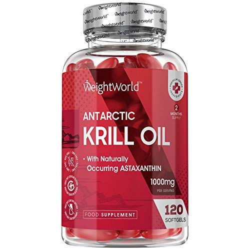 Aceite de Krill Antártico 1000 mg 120 Cápsulas - Potente Fuente de Ácidos Grasos Omega 3, EPA y DHA y de Astaxantina Natural, Perlas de Aceite de Krill, Fosfolípidos de Omega 3 de Alta Absorción