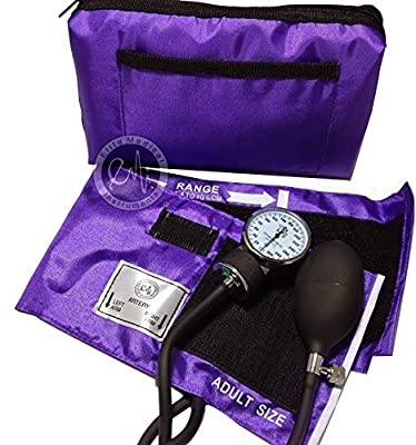 EMI Purple Deluxe Professional Aneroid Sphygmomanometer Manual Blood Pressure Monitor Set with Adult Cuff and Carrying Case