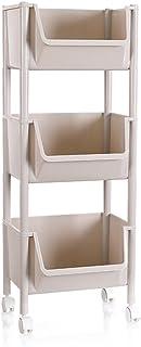 Tablettes de rangement à 3 niveaux populaires Cadre de rangement Khaki Panier de rangement en plastique à large plateau ca...