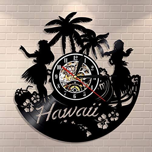 BFMBCHDJ Hawaii Wanduhr Hawaiian Luau Party Wandkunst Home Decor Schallplatte Uhr Hawaiian Beach Palm Landschaft Vintage Sommer Ornament Mit LED 12 Zoll