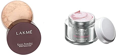 Lakme Rose Face Powder, Soft Pink, 40G And Lakme Absolute Perfect Radiance Skin Brightening Day Crème, 28 G