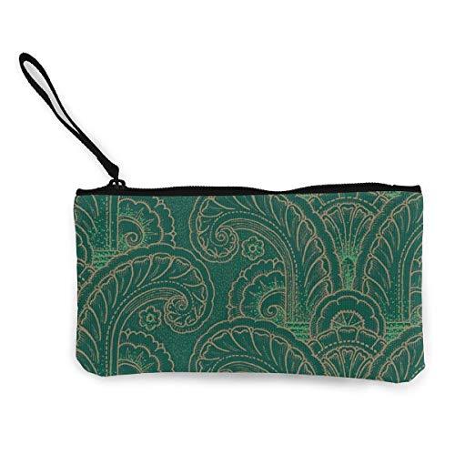 Münzbeutel, Art Deco Acanthus Moderne Leinwand Münzgeldbörse Handytasche Kartentasche mit Griff und Reißverschluss