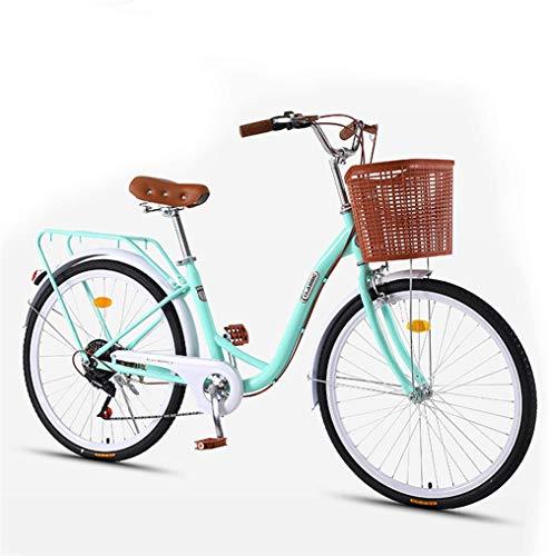Lady Urban Bike 7 velocità, Biciclette Olandesi Bike Adulti Uomo e Donna Vintage Urban Bike Commuter Bike Bicycle Classic Retro Bicicletta Bicicletta Città di Svago delle Giovani Studenti -GREEN-26