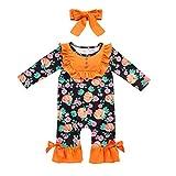 Sumeiwilly-Baby Anzug Halloween Overalls Junge Mädchen Kleider 2 Stück Pumpkin Drucken Strampler + Stirnband Outfits Sets
