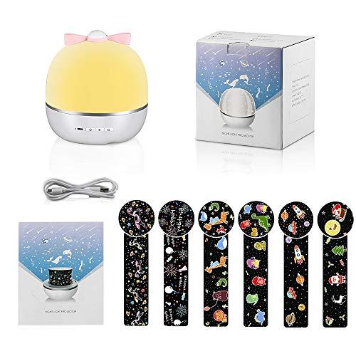 LBLA Lampada Proiettore per Bambini con Musica, 360° Rotazione Luce Notturna, Regalo di Compleanno/Regalo di Natale/Decorazione