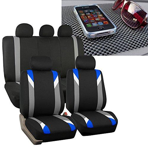 FH Group FH-FB033115 Three Row- Premium Modernistic Seat Covers Blue/Black FH1002 Non-Slip Dash Pad- Fit Most Car, Truck, SUV, or Van