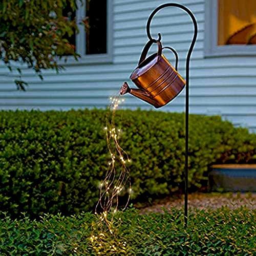 Star Shower Garden Art Light, Sucastle - Regadera De Metal De 35 Pulgadas Con Luces Decorativas Con Cadena De Luces LED Impermeables, Luces De Estaca Para Jardín Al Aire Libre Para Decoración