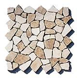 M-1-022 - 1 m² = 11 Fliesen - Marmor Bruchstein Mosaikfliesen'Mocca White' Naturstein Badezimmer Stein-Mosaik Fliesen Lager Verkauf Herne NRW