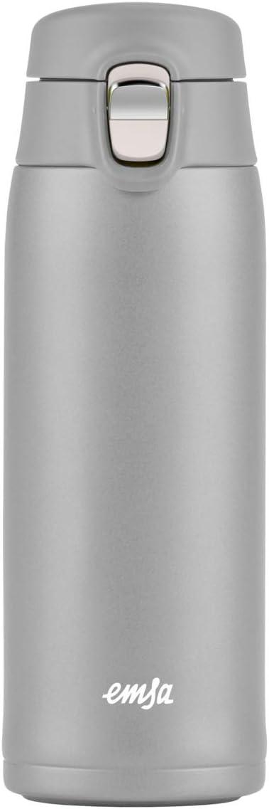Emsa N21510 Travel Mug Light - Termo de acero inoxidable, 0,4 litros, 6 horas calientes, 12 h frío, sin BPA, 100% hermético, a prueba de fugas, apto para lavavajillas, sistema de cierre abatible