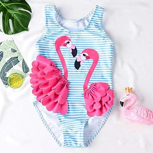 VIOYO Flamingo Kid Baby Girl 3D Patchwork Rayas Encantador Bikini de una Pieza Traje de bao Traje de bao Traje de bao Playa