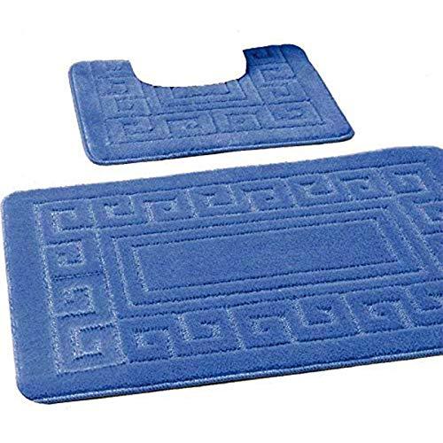 EDS Mittelblau Badematten Set 2-teiliges, Badegarnitur, WC Vorleger, Badvorleger, Badeteppich, antirutsch beschichtet, extra stark saugfähig