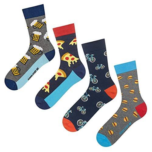 soxo Herren 4 Paar Bunte Socken | Größe 40-45 | Motivsocken aus Baumwolle - Bier Mexiko Hennen Pizza