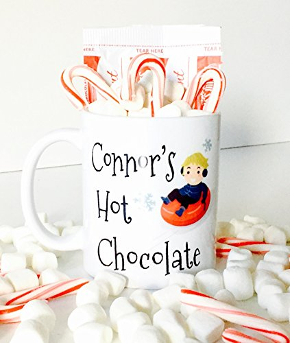Personalized Hot Chocolate Mug with Snow Tubing Design for Kids, Kids Hot Chocolate Mugs   Christmas Gifts for Kids
