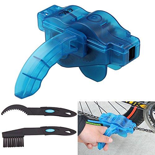 Veriya Kit para limpieza de cadena de bicicleta fácil y rápida, incluye estropajo, cepillo, herramienta de limpieza y mantenimiento, para bicicletas de carretera y montaña, azul