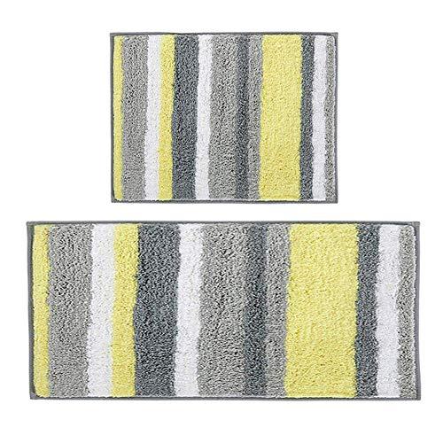 Pauwer Badematten Set 2 teilig Mikrofaser Saugfähig Badteppich Set rutschfest Waschbar Badvorleger Duschvorleger für Badezimmer,45 x 65 cm + 45 x 120 cm,Gelb/Grau