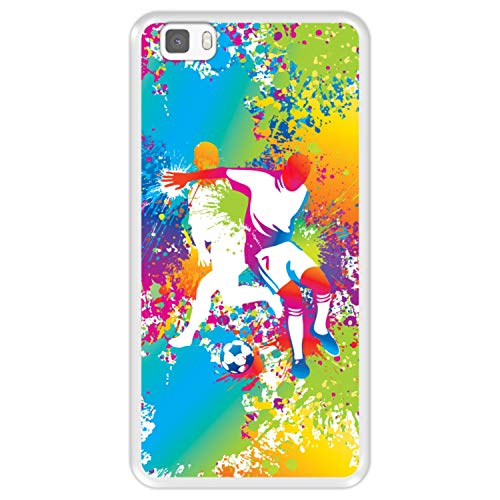 Funda Transparente para [ Huawei P8 Lite ] diseño [ Abstracto, Jugadores de fútbol Multicolores ] Carcasa Silicona Flexible TPU